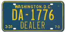 1969 (exp. 3-31-70) Dealer plate no. DA-1776