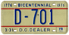 1974 base Dealer plate no. D-701