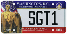 2009 Inaugural Metropolitan Police plate no. SGT1: click to enlarge