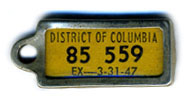 1946 (exp. 3-31-47) D.C. DAV key tag no. 85-559