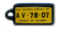 1956 (exp. 3-31-57) D.C. DAV key tag no. AV-78-07