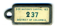 1962 (exp. 3-31-63) D.C. DAV key tag no. 237