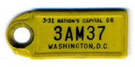 1965 (exp. 3-31-66) D.C. DAV key tag no. 3AM37