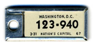 1966 (exp. 3-31-67) D.C. DAV key tag no. 123-940