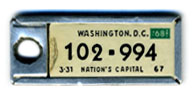1967 (exp. 3-31-68) D.C. DAV key tag no. 102-994