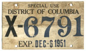 1951 Special Use plate no. X-6791