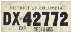 1955 Dealer-Issued Temporary plate no. DX-42772