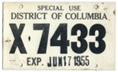 1955 Special Use plate no. X-7433