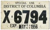 1956 Special Use temporary plate no. X-6794