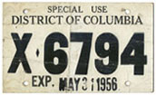 1956 Special Use plate no. X-6794