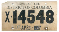 1957 Special Use plate no. X-14548