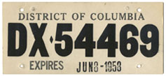 1958 Dealer-Issued Temporary plate no. DX-54469