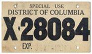 1958 Special Use temporary plate no. X-28084, exp. 6-7-1958