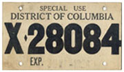 1958 Special Use plate no. X-28084