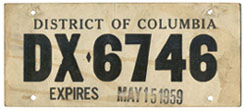 1959 Dealer-Issued Temporary plate no. DX-6746