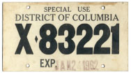 1962 Special Use plate no. X-83221