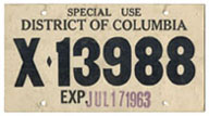 1963 Special Use plate no. X-13988