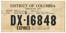 1966 Dealer-Issued Temporary plate no. DX-16848