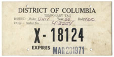 1971 Special Use plate no. X-18124