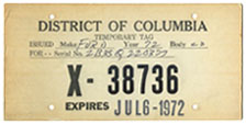 1972 Special Use plate no. X-38736