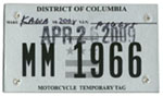 Exp. April 2009 temporary motorcycle plate no. MM 1966