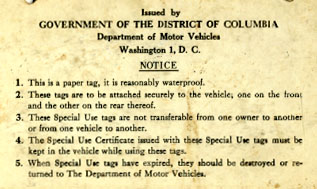 Detail of explanatory text on reverse of Special Use plate.