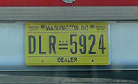 Close-up of 10-31-2007 D.C. dealer plate no. 5924
