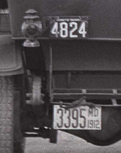 Close image of license plates from scene above.