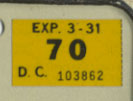 1969 (exp. 3-31-70 sticker, black on yellow