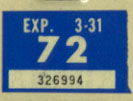 1971 (exp. 3-31-72) sticker, white on blue