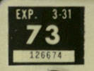 1972 (exp. 3-31-73) sticker, white on black