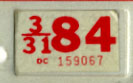1983 (exp. 3-31-84) sticker used for non-staggered registrations, red on white