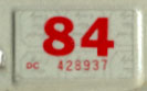 1983 (expires 1984) sticker used for staggered registrations, red on white