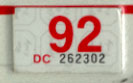 1991 (expires 1992) sticker, red on white