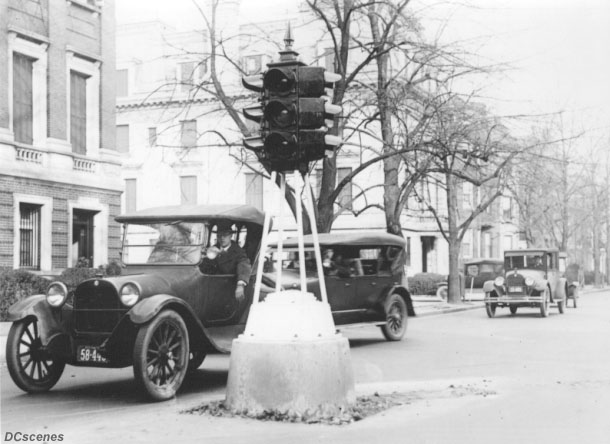 The first four-way traffic signal with red, amber, and green lights in the U.S. was installed in Detroit in October 1920. Within five years, this light was in service at New Hampshire Ave. and 18th St. in Washington.