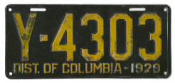 1929 Passenger plate no. Y-4303