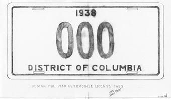 Feb. 1937 sketch of proposed 1938 D.C. license plate. Click on image for larger view.