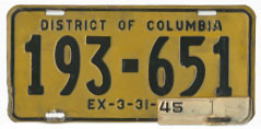 1942 Passenger plate no. 193-651 validated for 1944