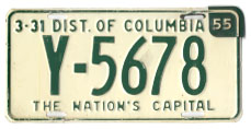 1953 Passenger plate no. Y-5678 revalidated for 1954