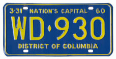 1959 Passenger plate no. WD-930