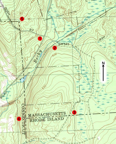 A map of the area around the Tri-State Marker and northeast corner of Connecticut. (A portion of the USGS Oxford, Mass. quadrangle)
