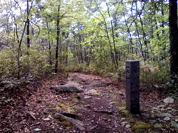 A marker along the trail that straddles the Massachusetts-Rhode Island border.