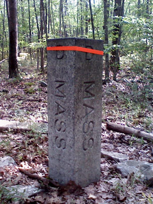 The Massachusetts side of the Connecticut corner marker.